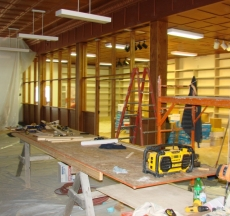 Construction of library wall.